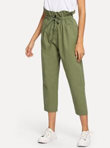 Drawstring Waist Frill Button Pants