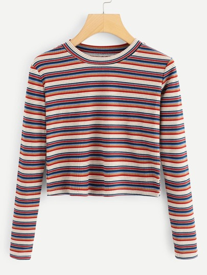 Striped Rib Knit Crop Tee