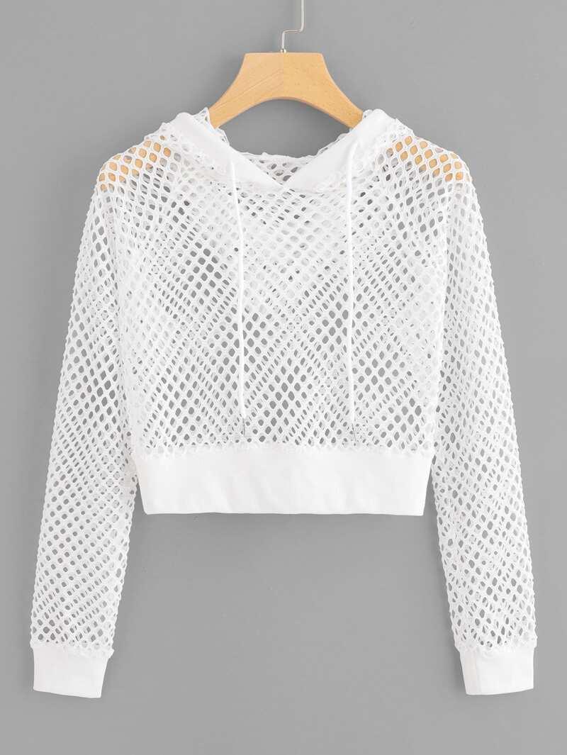 Fishnet Drawstring Hooded Sweatshirt by Romwe