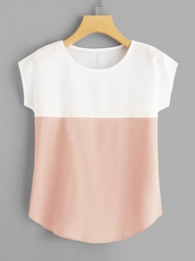 Round Neck Colorblock Blouse