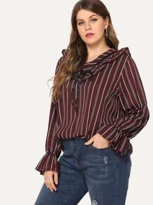 Plus Ruffle Striped Blouse