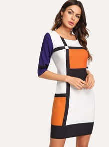 Geometric Print Colorblock Dress