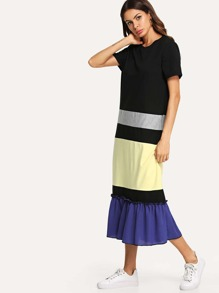 Ruffle Hem Colorblock Frill Dress