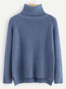 High Neck Ribbed Split Jumper