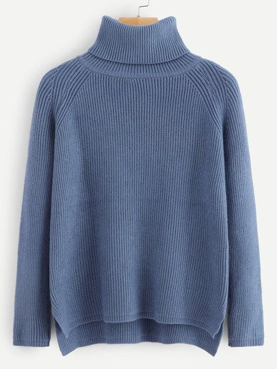 High Neck Ribbed Split Sweater