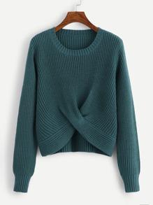 Twist Hem Solid Sweater