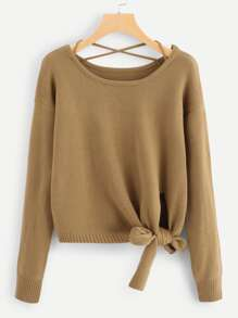 Knot Side Criss Cross Back Sweater