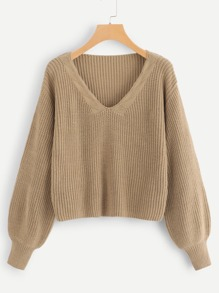 Deep V Neck Solid Sweater