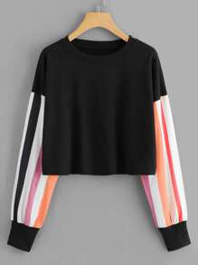 Contrast Striped Sleeve Sweatshirt