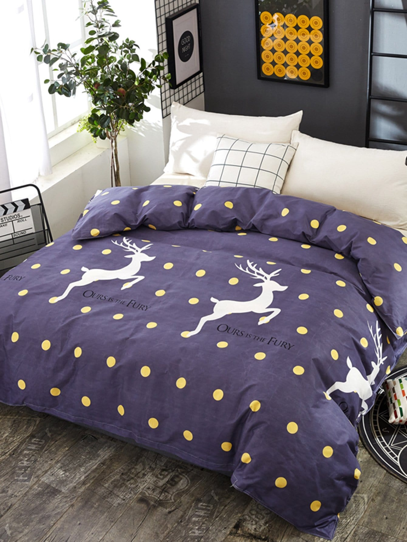 polka dot deer print duvet cover 1pc romwe. Black Bedroom Furniture Sets. Home Design Ideas