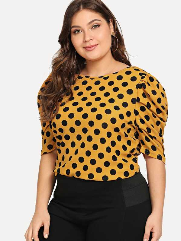 2d6caf9743dcb5 Plus Polka Dot Puff Sleeve Top
