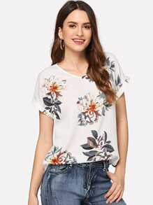 Roll Up Sleeve Curved Hem Floral Top
