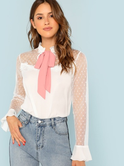 Tie Neck Dobby Mesh Yoke Blouse