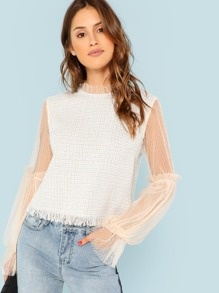 Zip Back Raw Hem Mesh Blouse