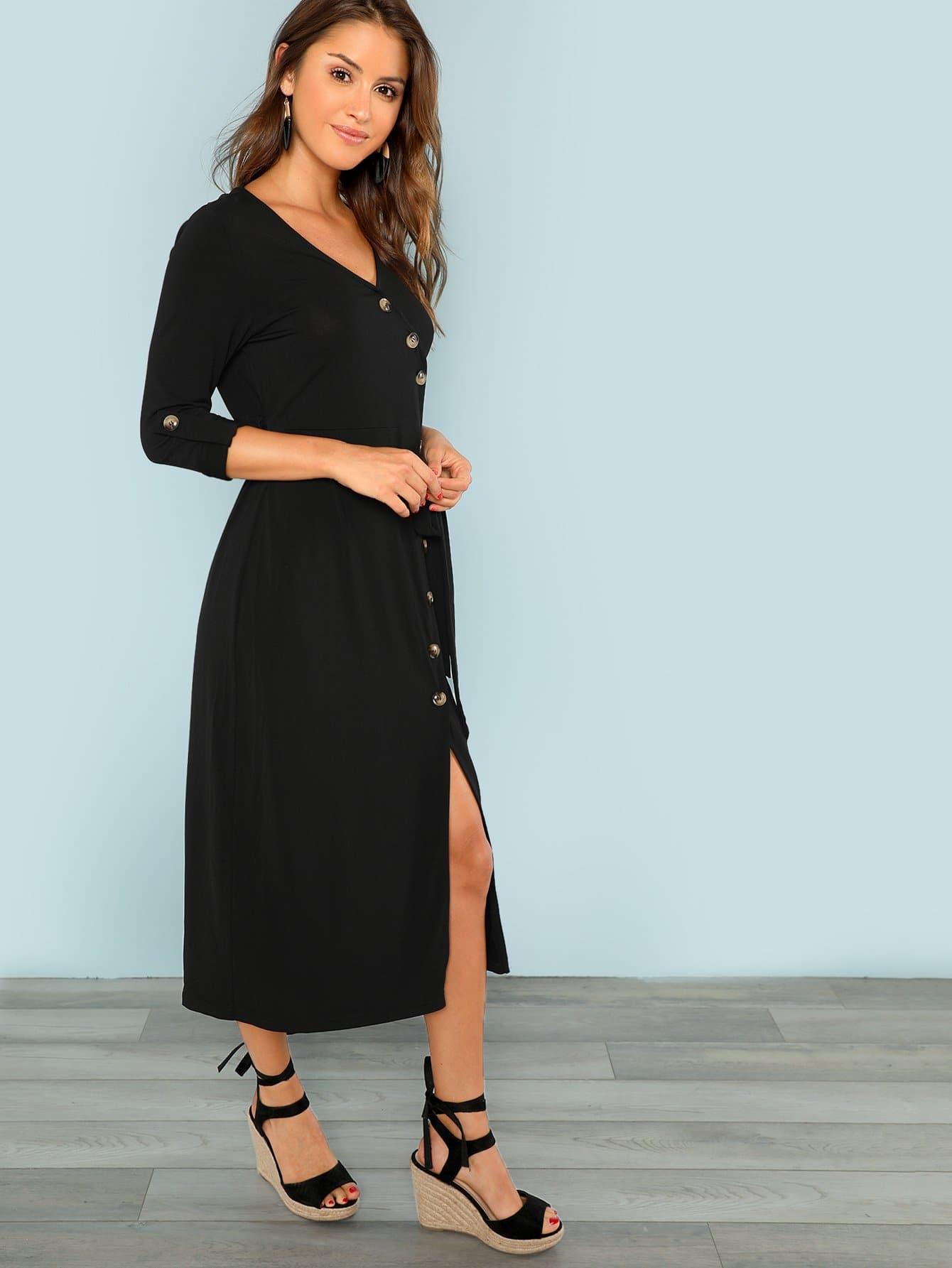 Button Through Surplice Wrap Split Dress Emmacloth Women
