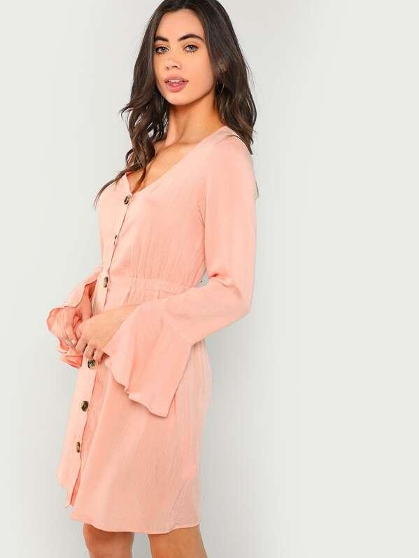 31b0355de6 Slit Bell Sleeve Button Through Dress | SHEIN IN