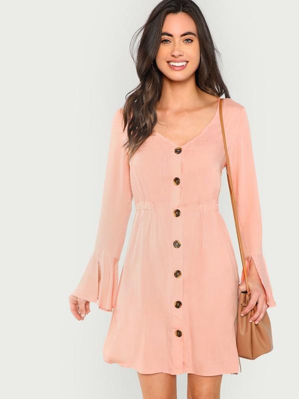 371395b082 Slit Bell Sleeve Button Through Dress | SHEIN