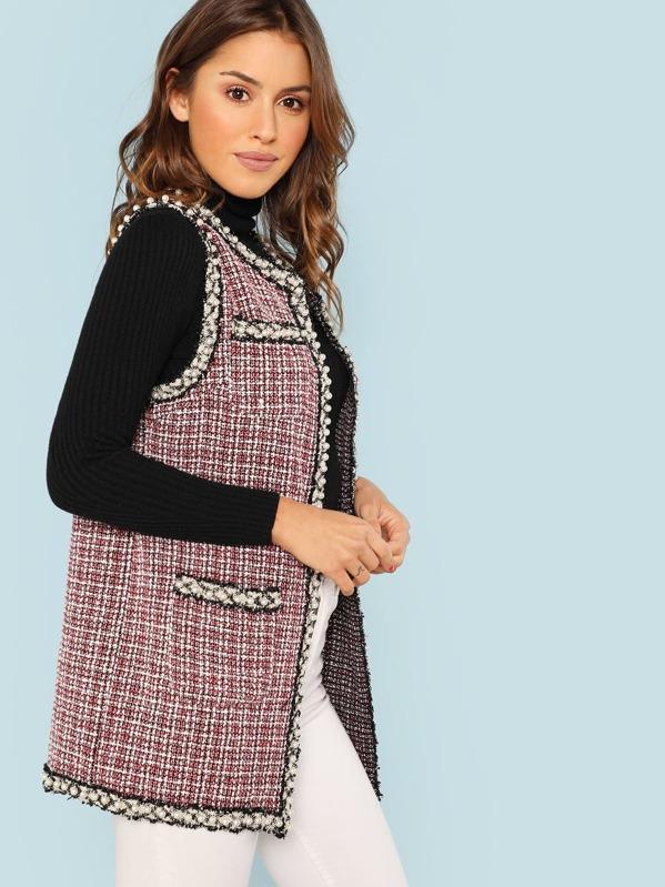 Open Front Tweed Vest Coat Shein