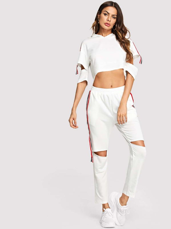 5bb8656604389e Cheap Striped Side Hoodie Crop Top   Cut Pants Set for sale Australia