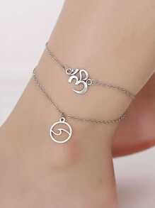 Circle Charm Layered Chain Anklet