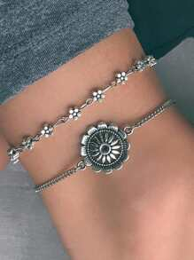 Flower Detail Anklet Chain Set 2pcs