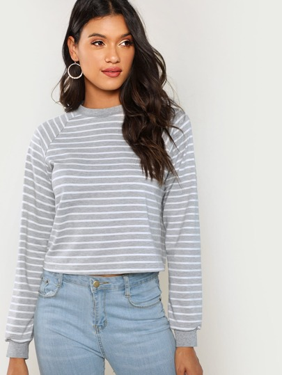 Crop Striped Sweatshirt