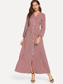 Striped Button Front Longline Dress