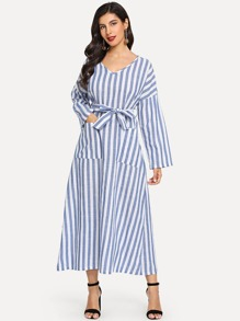 Striped Pocket Front Tie Waist Dress
