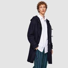 Image of Men Self Belted Longline Coat