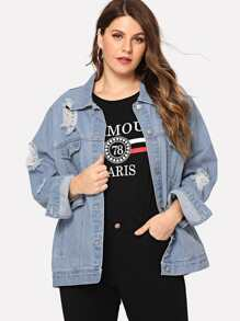 Plus Slit Cut Back Buttoned Denim Jacket