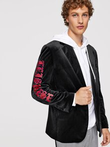 Men Letter Embroidered Notched Neck Blazer