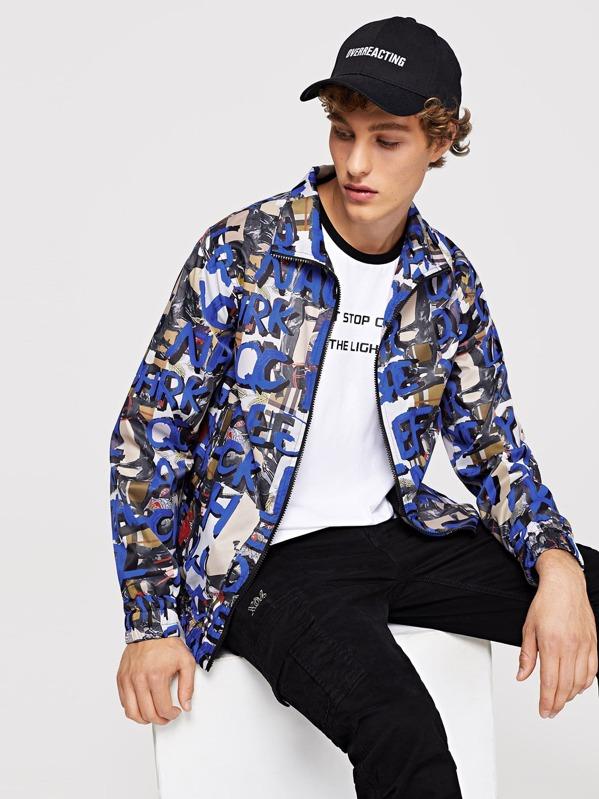 c4c3d84230 Men Zip Front Letter Print Jacket   SHEIN UK