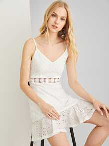 Lace Insert Eyelet Embroidered Dress