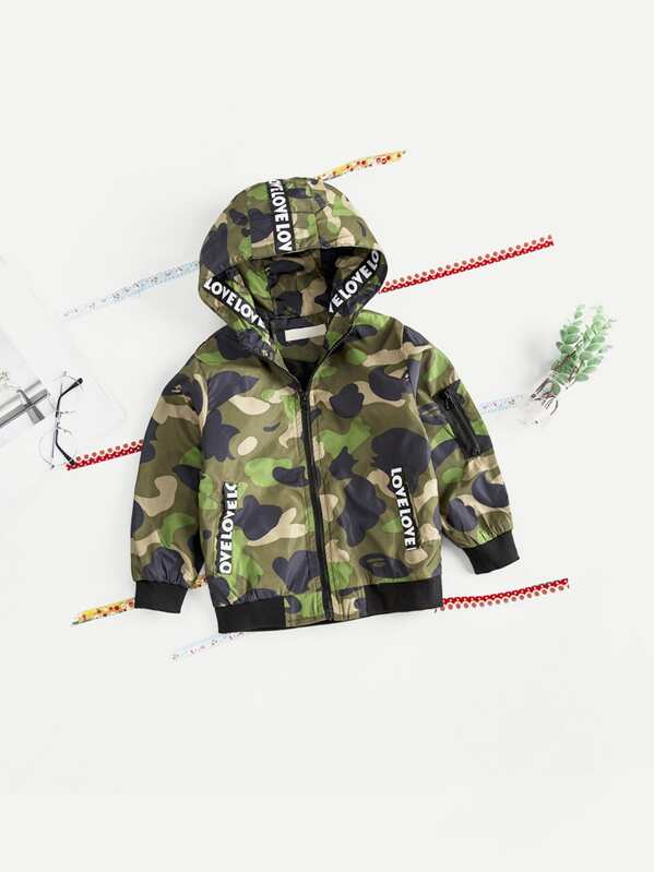 48722a7b312 Toddler Boys Letter Print Camo Hooded Jacket