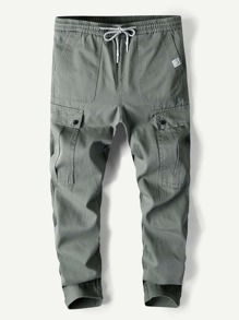 Men Pocket Drawstring Plain Pants