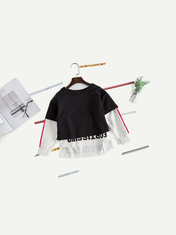 0f1c1f5466 Toddler Boys 2 In 1 Letter Print Sweatshirt