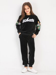 Girls Embroidered Sweatshirt With Pants