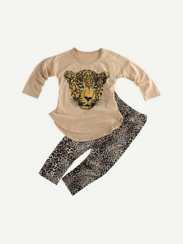 638ccd125758 Toddler Girls Animal Print Top With Leopard Pants | SHEIN