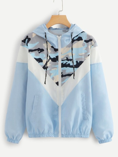 Mesh Panel Camo Print Hooded Jacket