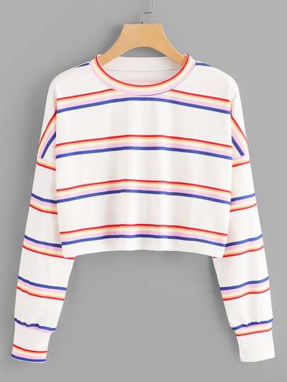 Drop Shoulder Striped Crop Tee