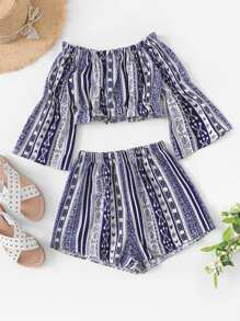 Off Shoulder Geo Print Top With Shorts