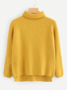 High Low Solid Sweater