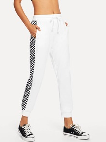Contrast Plaid Side Drawstring Waist Pant