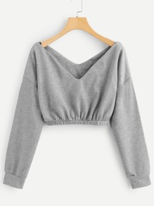 V Neck Crop Sweatshirt