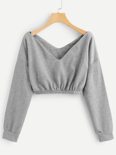 Sweat-shirt court avec col V