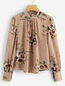 Mock Neck Pleated Floral Blouse