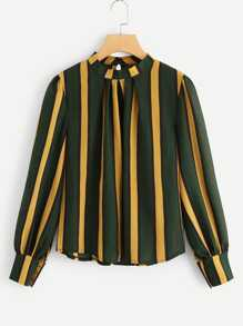 Bishop Sleeve Striped Blouse