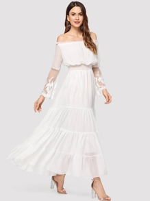 Off The Shoulder Lace Panel Dress