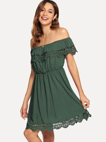 Cut Out Ruffle Trim Off The Shoulder Dress