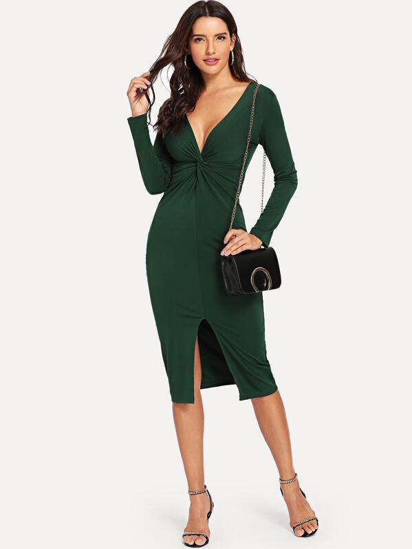 06577e02d6a9 Twist Plunge Neckline Slit Midi Dress